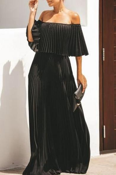 Summer Sexy Off the Shoulder Half Sleeve Plain Floor Length A-Line Chiffon Dress