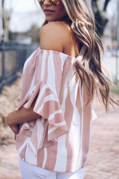 Summer Stylish Off the Shoulder Striped Printed Tied Hem Casual Loose Blouse Top