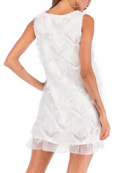 Summer Stylish Round Neck Sleeveless Tassel Hem Mini Chiffon Tank Dress