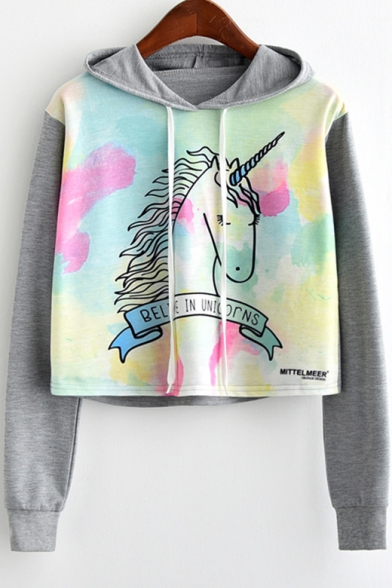 Tie Dye Cartoon Unicorn Letter Printed Colorblock Long Sleeve Drawstring Hoodie