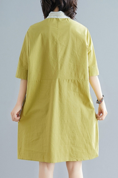 Trendy Simple Plain Button Front Lapel Collar Half Sleeve Mini Shift Linen Shirt Dress with Pocket
