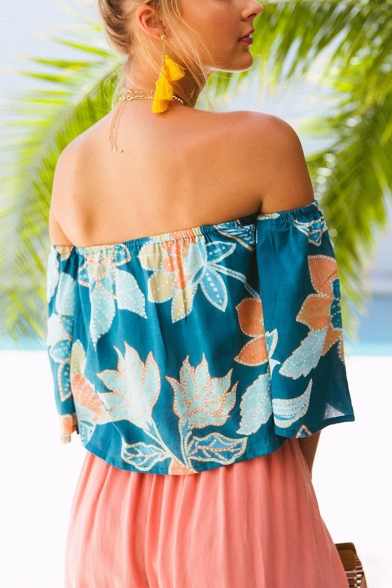Trendy Summer Blue Floral Pattern Sexy Off the Shoulder Blouse Top