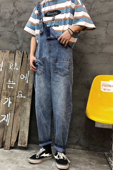 Trendy Vintage Blue Rolled Cuff Loose Casual Straight Fit Unisex Denim Bib Overalls