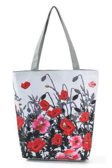 Unique Fashion Floral Printed White Canvas Shoulder Bag 27*11*38 CM