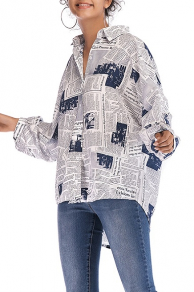 Vintage Newspaper Pattern Long Sleeve Casual Loose Button Down Shirt