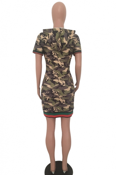 Women's Camouflage Printed Short Sleeve Drawstring Hood Army Green Mini Bodycon Dress