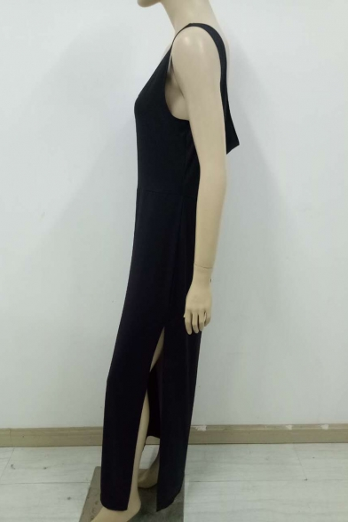 Women's Fashion Simple Plain Sleeveless Scoop Neck Backless Split Hem Tank Black Dress