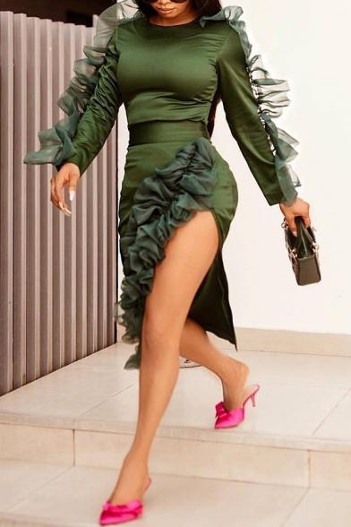 Women's Green Lace Ruffle Long Sleeve Round Neck Split Side Bodycon Pencil Dress