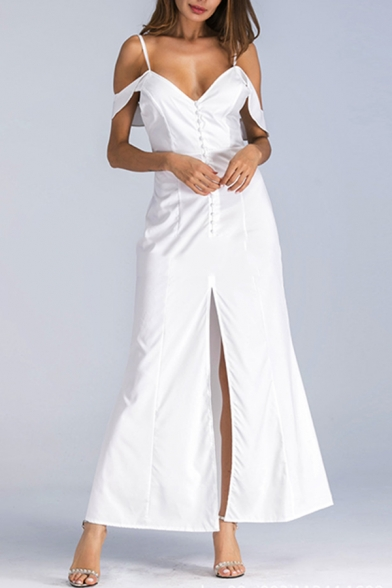 Women's Sexy Spaghetti Straps Short Sleeve Backless Split Hem Maxi Cami White Dress
