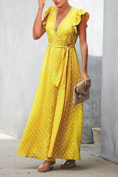 Women's Stylish V-Neck Cap Sleeve Polka Dot Printed Bow-Tied Waist Ruffle Hem Maxi Empire Waist A-Line Dress
