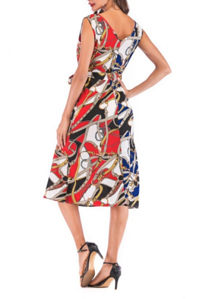 Women's Stylish V-Neck Sleeveless Colorblock Tribal Print Bow-Tied Waist Midi Chiffon Tank Dress