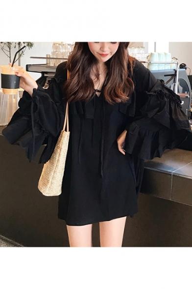 Women's Summer Stylish Bow V-Neck Ruffle Sleeve Plain Pleated Hem Mini Dress