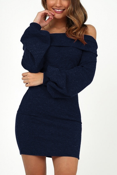 Womens Chic Basic Simple Solid Color Sexy Off the Shoulder Lantern Long Sleeve Mini Bodycon Dress