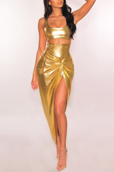 Womens Chic Metallic Color Gold Scoop Neck Sleeveless Cutout Front Twist Detail Maxi Night Club Dress LM531887 фото