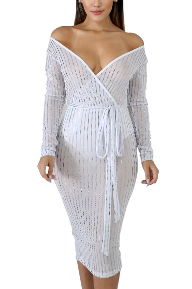 Womens Chic Surplice V-Neck Long Sleeve Tied Waist Splited Back Midi Bodycon Night Club Mesh Dress