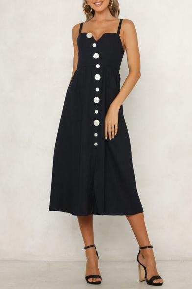 Womens Chic Unique Shell Button Front V-Neck Sleeveless Black Maxi Plain A-Line Strap Dress
