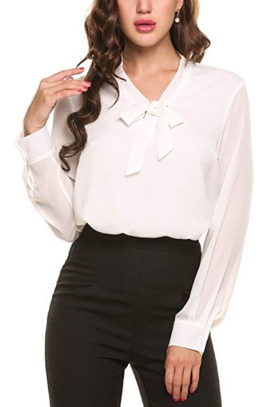Womens New Stylish Simple Plain Bow-Tied V-Neck Long Sleeve Casual Chiffon Blouse Top
