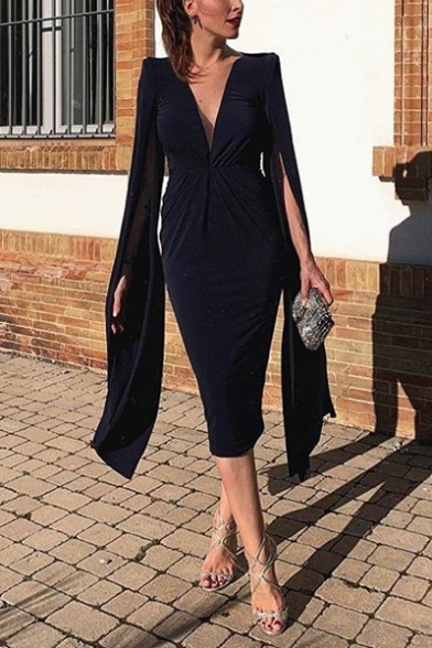 Womens New Stylish Simple Solid Color Extra Long Sleeve Plunging Neck Midi Navy Pencil Dress