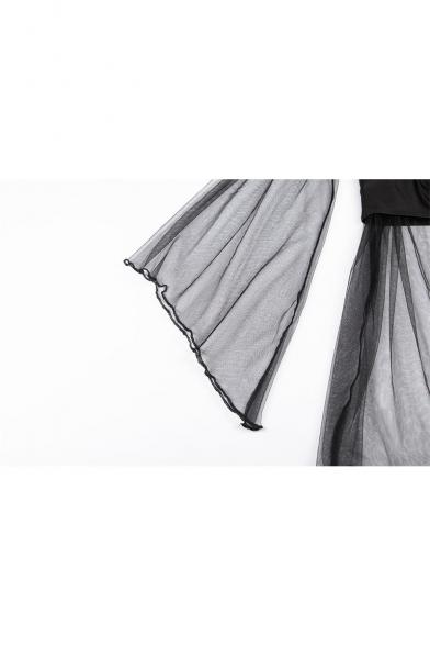 Womens Sexy Off the Shoulder Flared Long Sleeve Sheer Mesh Black Mini Dress