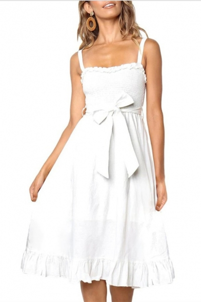 Womens Simple Solid Color Sleeveless Sash Detail Tied Waist Midi A-Line Ruffled Strap Dress