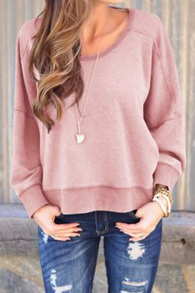 Womens Solid Round Neck Long Sleeve Open Back Sweatshirt