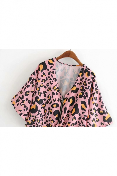 Womens Stylish Leopard Printed V-Neck Zipper Front Knotted Hem Blouse Top