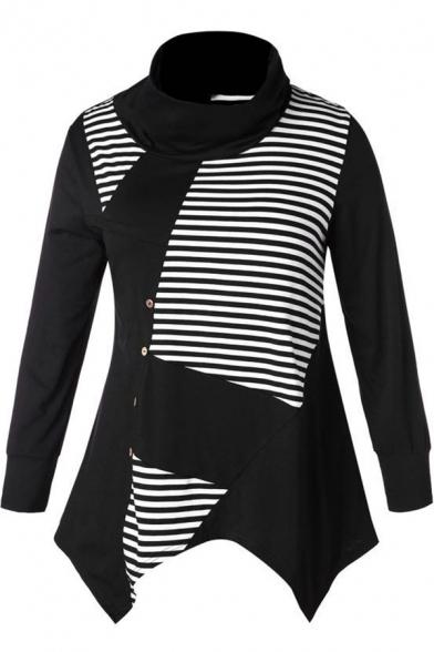 Womens Stylish Striped Printed Funnel Neck Long Sleeve Button Embellished Asymmetrical Hem Black Sweatshirt