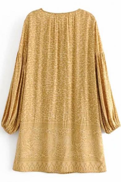 Womens Trendy Khaki Leopard Printed V-Neck Lantern Long Sleeve Casual Loose Mini Dress
