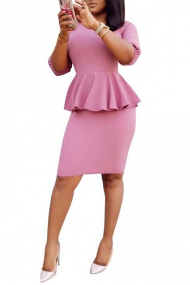 Womnes Plus Size Fashionable Solid Color Round Neck Half Sleeve Peplum Waist Midi Pencil Dress