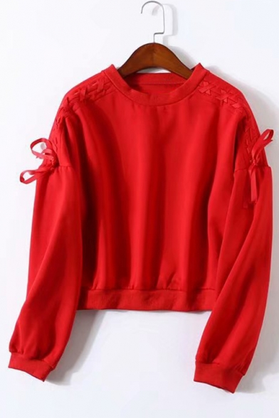 Basic Simple Plain Round Neck Tied Long Sleeve Casual Loose Pullover Sweatshirt