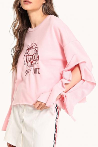 Cartoon Dog Letter STAY CUTE Embroidery Hollow Ruffled Long Sleeve Pink Sweatshirt