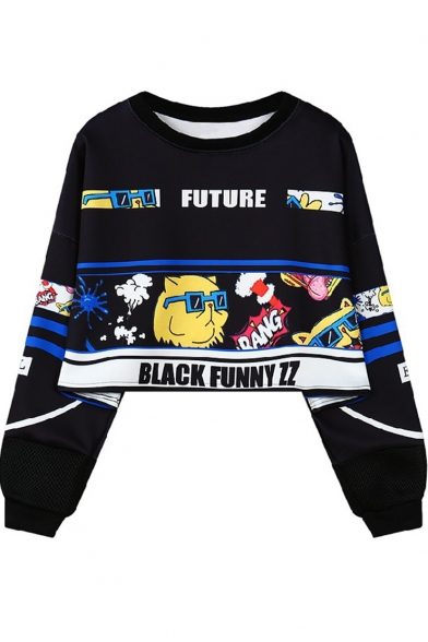 Cool Letter FUTURE Comic Figure Print Long Sleeve Round Neck Cropped Sweatshirt