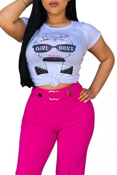 Cool Letter GIRL BOSS Glasses Print Short Sleeve White Slim Fit T-Shirt
