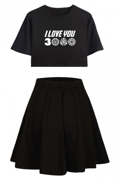Cool Unique Letter I LOVE YOU 3000 Short Sleeve Crop Tee with A-Line Skirt Two-Piece Set