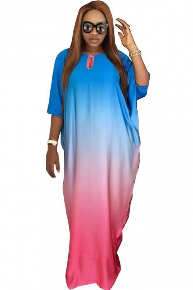 Cool Unique Ombre Color Blue and Pink Round Neck Batwing Sleeve Maxi Shift Dress LM535840 фото