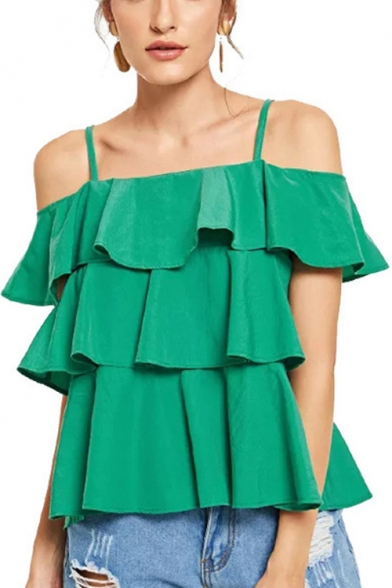 Emerald Green Simple Plain Cold Shoulder Spaghetti Straps Layered Ruffle Blouse Top for Women