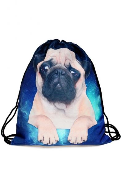 Fashion Creative 3D Galaxy Dog Printed Blue Drawstring Backpack 30*39 CM