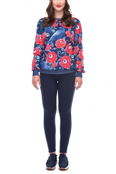 Fashion Halloween Floral Print Contrast Trim Round Neck Long Sleeve Navy Loose Fit Pullover Sweatshirt