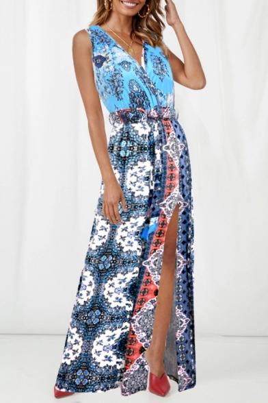 Fashion Sexy V-Neck Sleeveless Floral Printed Bow-Tied Waist Split Hem Floor Length Tank Dress