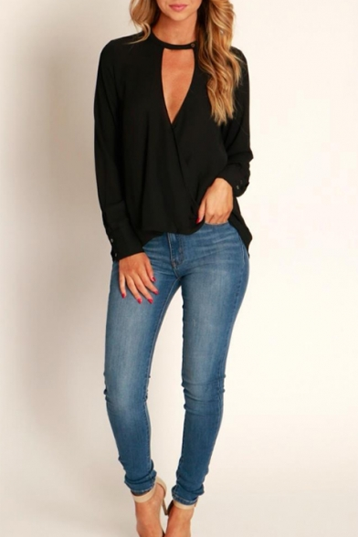 Fashion Surplice V-Neck Long Sleeve Simple Plain Casual Loose Chiffon Blouse Top