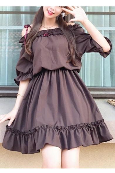 Girls New Fashion Cute Bow-Tied Straps Ruffled Hem Mini A-Line Chocolate Brown Dress