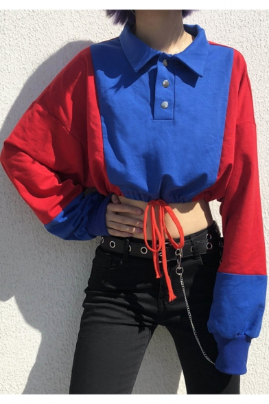 Hip Hop Style Girls Button Lapel Collar Vintage Blue and Red Colorblock Drawstring Hem Crop Sweatshirt