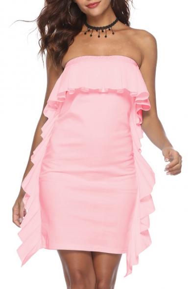 Hot Fashion Simple Plain Strapless Ruffled Hem Mini Bodycon Bandeau Dress