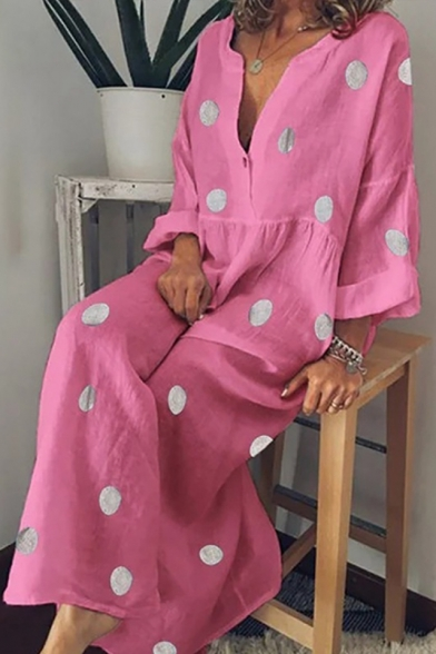 V-Neck Long Sleeve Polka Dot Printed Button Detail Boho Maxi Dress For Women