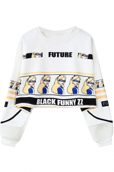 Letter FUTURE Comic Girl Printed Round Neck Long Sleeve Cropped Sweatshirt