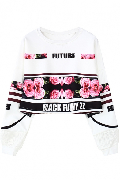 Letter FUTURE Rose Floral Printed Basic Round Neck Cropped Casual Sweatshirt