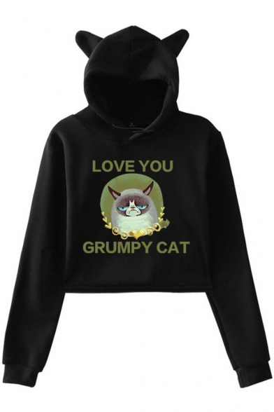 Lovely Cat Ear Design Cartoon Letter LOVE YOU GRUMPY CAT Long Sleeve Cropped Hoodie