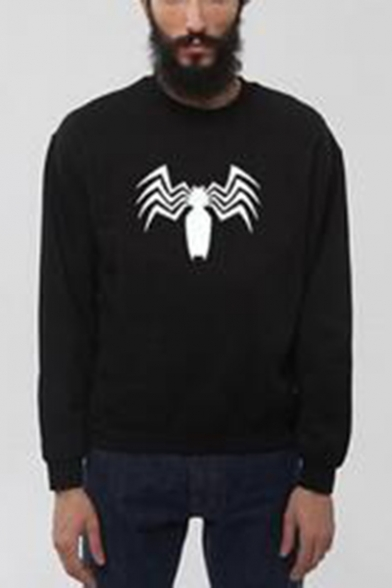 Men's Cool Black Spider Printed Long Sleeve Round Neck Casual Pullover Sweatshirt