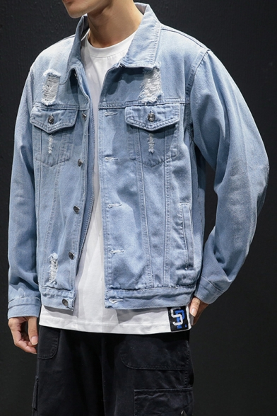 Mens//Ladies Denim Holed Lapel Collar Coats Loose Jeans Jackets Couples Outwear