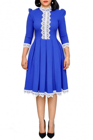 New Stylish 3/4 Sleeve Collared Plain Midi Lace Hem Pleated Swing Dress For Women